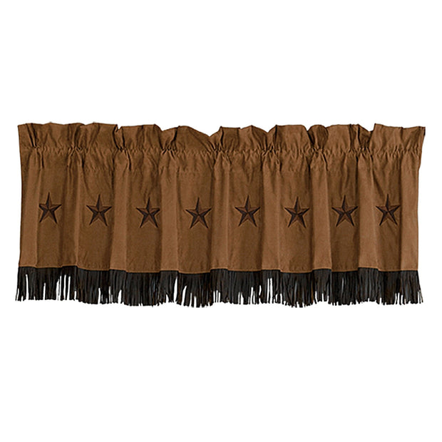 Laredo Tan Star Faux Suede Kitchen Valance