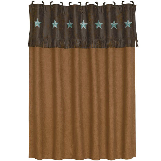 Laredo Western Shower Curtain, Turquoise Stars