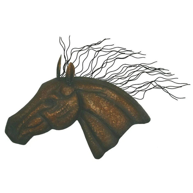 Large Horse Head Forged Metal Wall Hanging