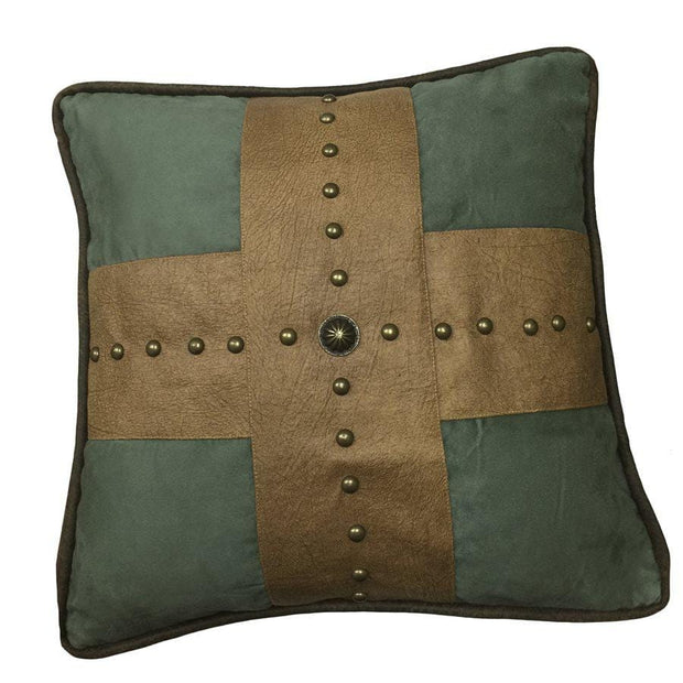 Las Cruces Gold Studded Cross Throw Pillow, Tan & Turquoise