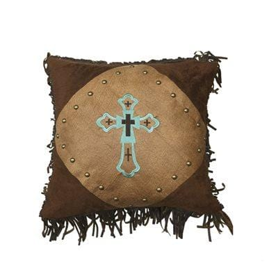 Las Cruces Turquoise Cross Western Throw Pillow