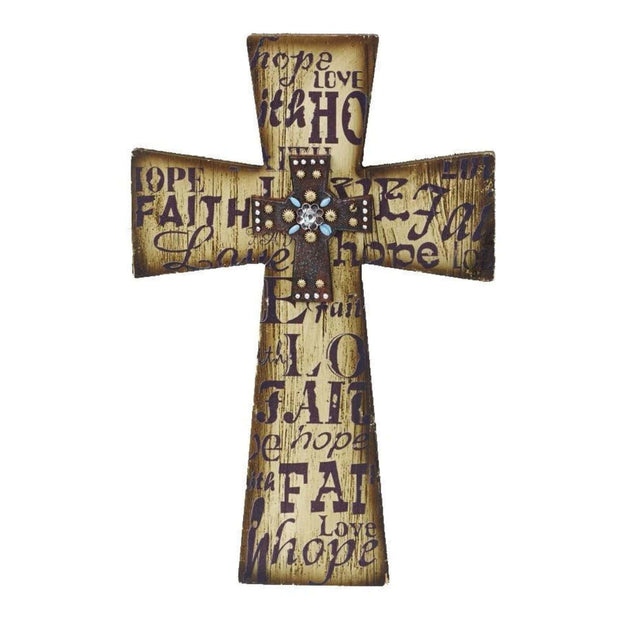 "Layered Cross ""Faith, Love, Hope"" Wall Decor"
