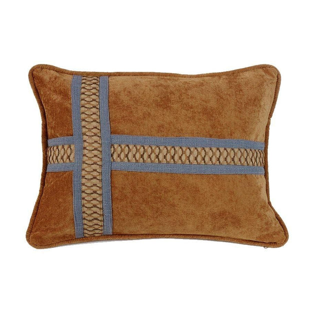 Lexington Caramel Cross Lumbar Pillow w/ Denim Blue