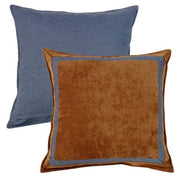 Lexington Russet & Blue Framed Velvet Euro Sham
