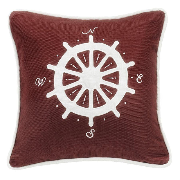 Liberty Dark Red Throw Pillow w/ White Linen Compass