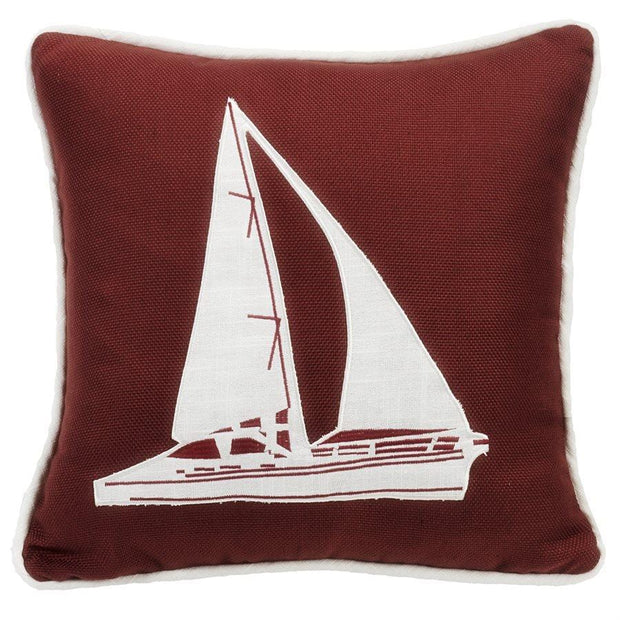 Liberty Dark Red Throw Pillow w/ White Linen Sailboat