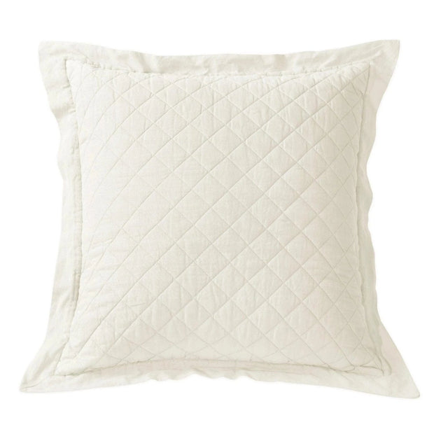 Linen & Cotton Diamond Quilted Euro Sham (7 Colors)