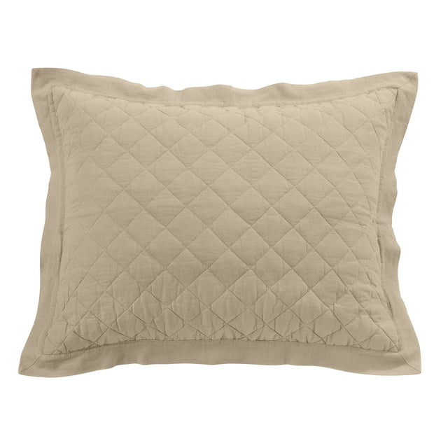 Linen & Cotton Quilted Pillow Sham - Standard/King (7 Colors)