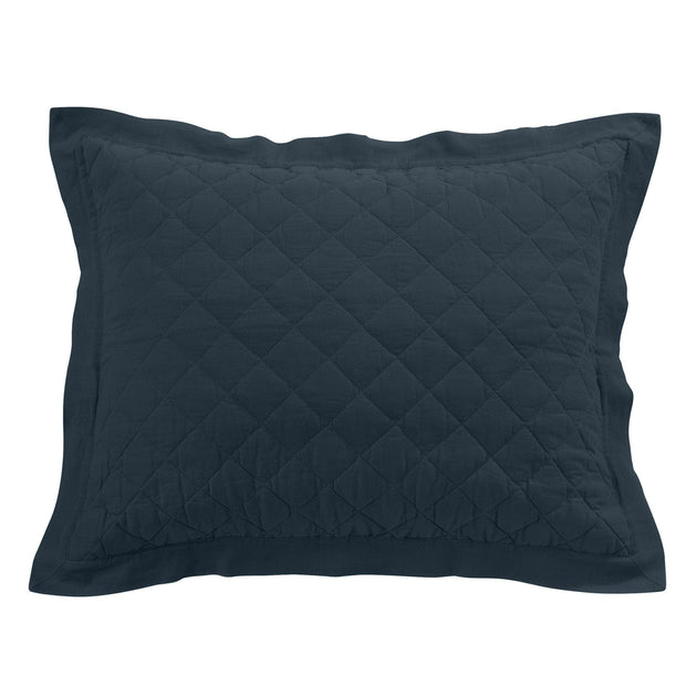 Linen & Cotton Quilted Pillow Sham , Standard/King, 7 Colors