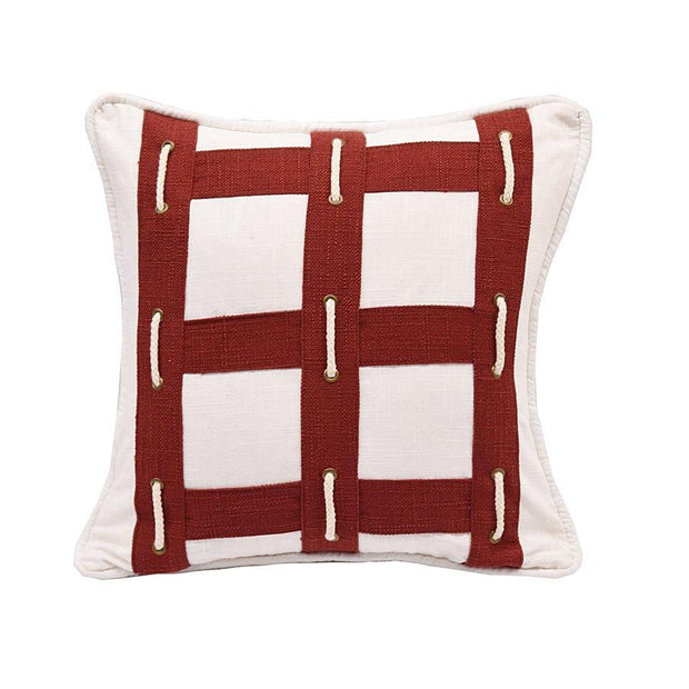 Linen Eyelet Decorative Throw Pillow w/ Rope
