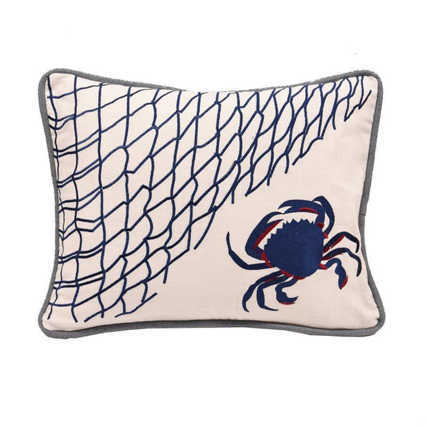 Linen Throw Pillow, Blue Crab & Fishing Net