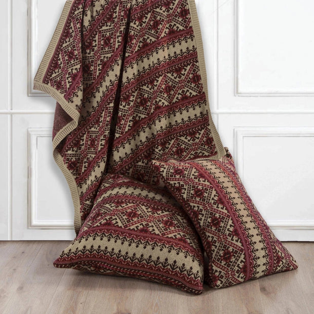 Fair Isle Knit Body Pillow - Red, Brown & Tan, 21x35