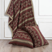 Lodge Fair Isle Knit Euro Sham - Red, Tan & Chocolate