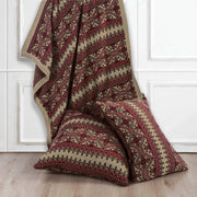 Lodge Fair Isle Red & Brown Knit Throw Blanket