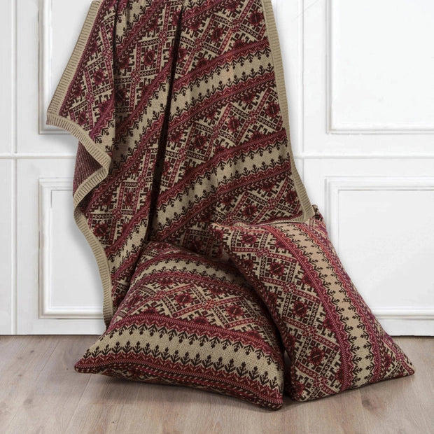 Fair Isle Red & Brown Knit Throw Blanket