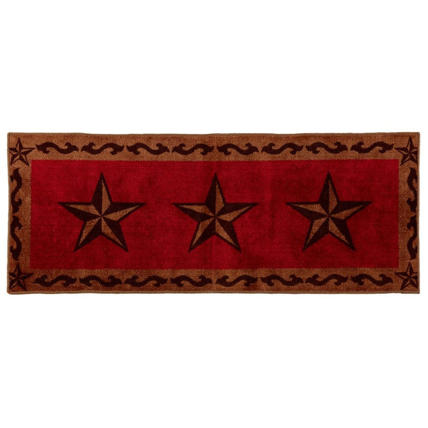 3-Star w/ Scroll Motif Kitchen/Bath Rug - Red