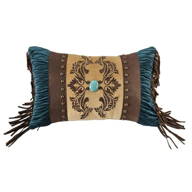 Loretta Scroll Velvet Decorative Pillow - Teal, Chocolate & Gold