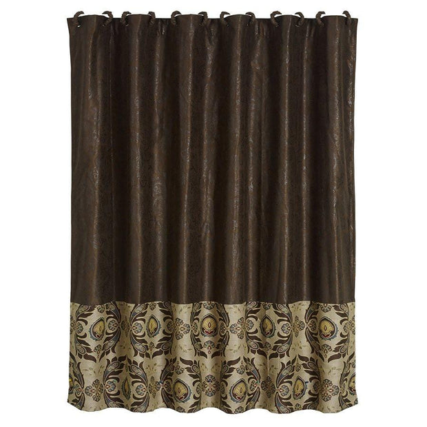 Loretta Shower Curtain w/ Faux Tooled Leather