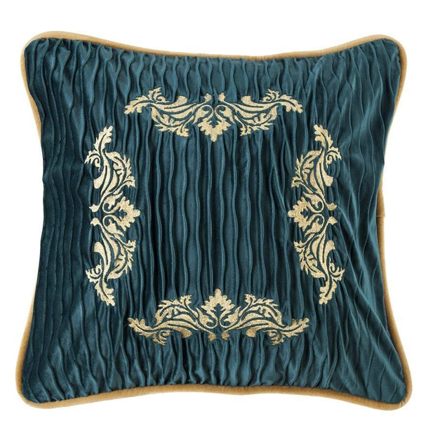 Loretta Teal Velvet Throw Pillow, Golden Scroll Embroidery