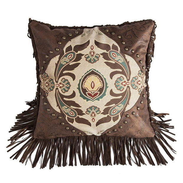 Loretta Western Medallion Throw Pillow w/ Fringe & Concho
