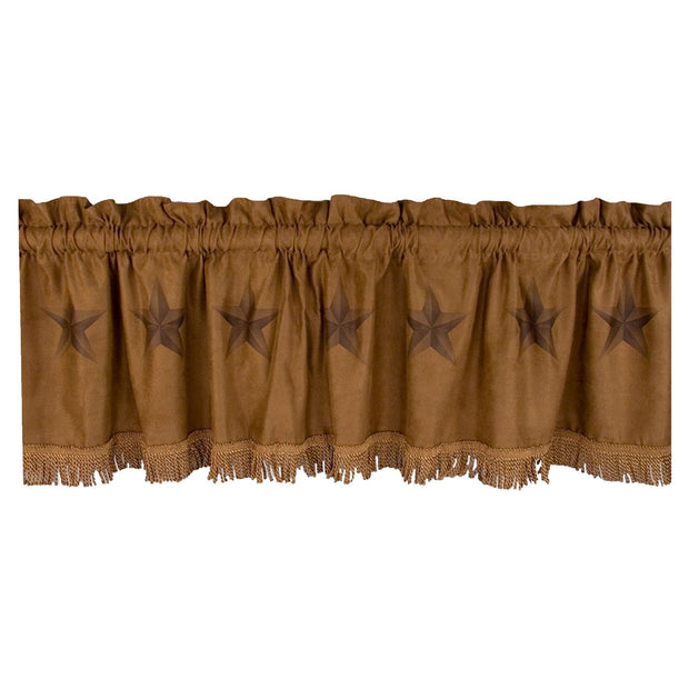 Luxury Star Western Kitchen Valance w/ Faux Suede