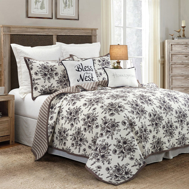 Lyla 3 PC Reversible Quilt Set, Floral Print