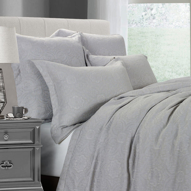 Matelassé Coverlet Set, Gray