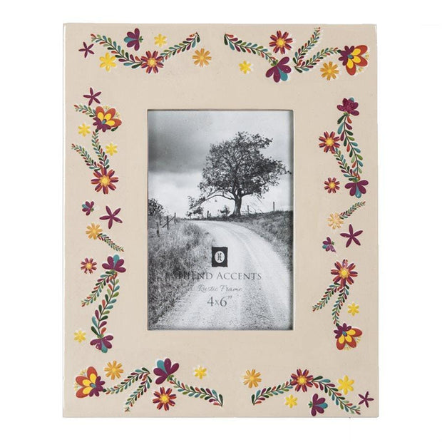 Mexican Floral Ceramic Picture Frame, 4x6