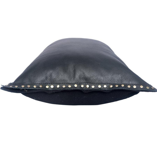 Midnight Black Eurosoft (Genuine) Leather Pillow, Studded Flange, 24x16