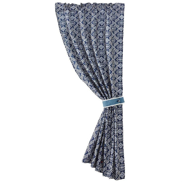 Monterrey Blue Alhambra Rod Pocket Curtain Panel