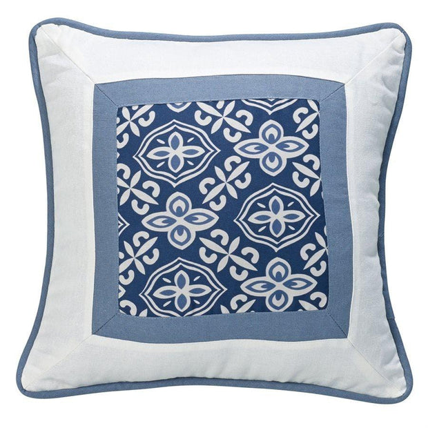 Monterrey Framed Coastal Throw Pillow, Blue & Indigo