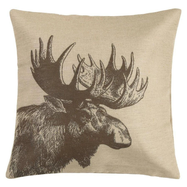 Moose Burlap Lodge-Style Throw Pillow