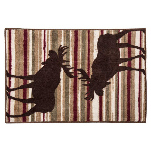 Moose Chocolate & Cranberry Stripe Kitchen/Bath Rug