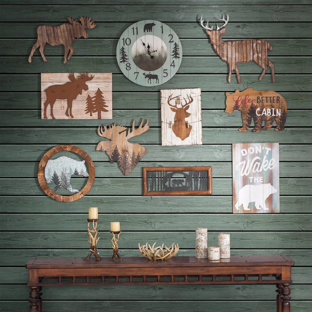 Moose Head Forest Cut Out Rustic Wall Art