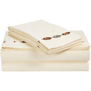 Navajo 4-PC Sheet Set, 350 Thread Count (Cream/Chocolate/Copper)