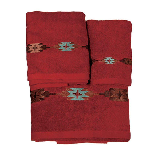 Navajo Embroidered 3-PC Bath Towel Set, Red