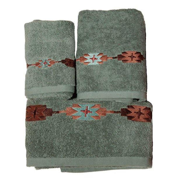 Navajo Embroidered 3-PC Bath Towel Set, Turquoise
