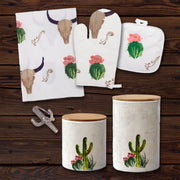 Skull/ Cactus Print and Succulent Design Canister 18 PC Set