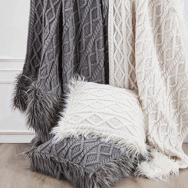 Nordic Cable Knit & Mongolian Fur Throw Blanket