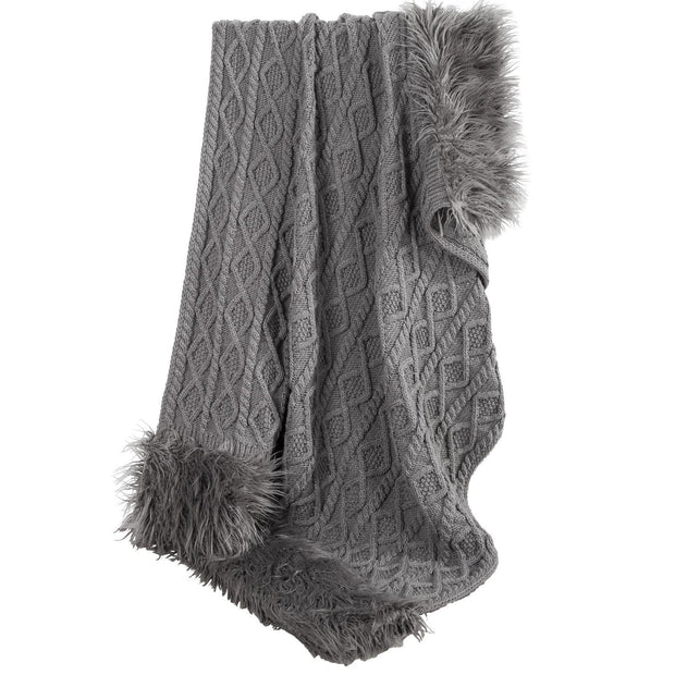 Nordic Cable Knit & Mongolian Fur Throw Blanket, 2 Colors, 50x80