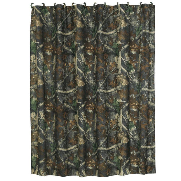 Oak Camo Shower Curtain, Green & Brown