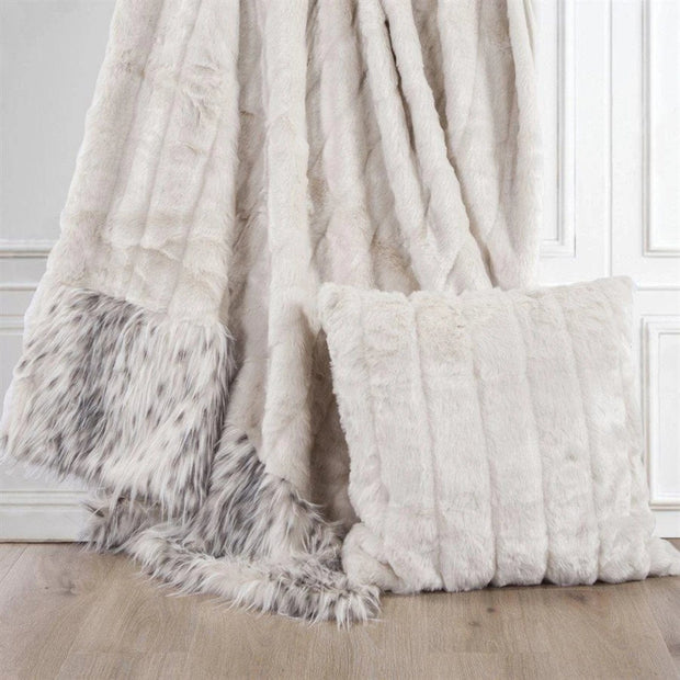 Oversized White Mink Throw Pillow
