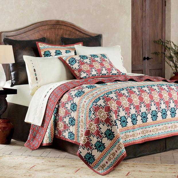 Phoenix 3 PC Reversible Quilt Set, Native American Pattern