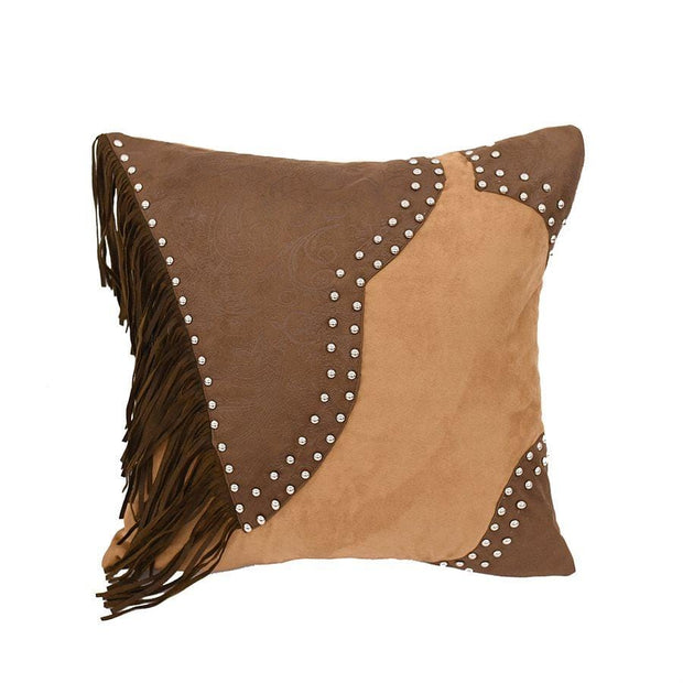 Pieced Faux Leather Throw Pillow w/ Studs & Fringe