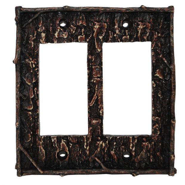 Pine Bark Double Rocker Wall Switch Plate