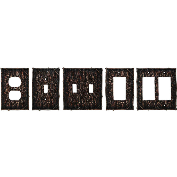 Pine Bark Double Switch Wall Plate