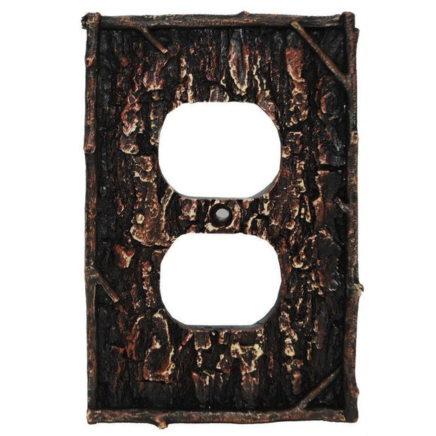 Pine Bark Single Outlet Cover Wall Plate