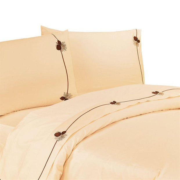 Pine Cone 4-PC Sheet Set, 350 Thread Count (Cream/Chocolate)