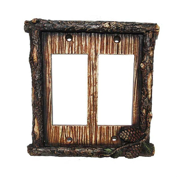 Pine Cone Double Rocker Wall Switch Plate