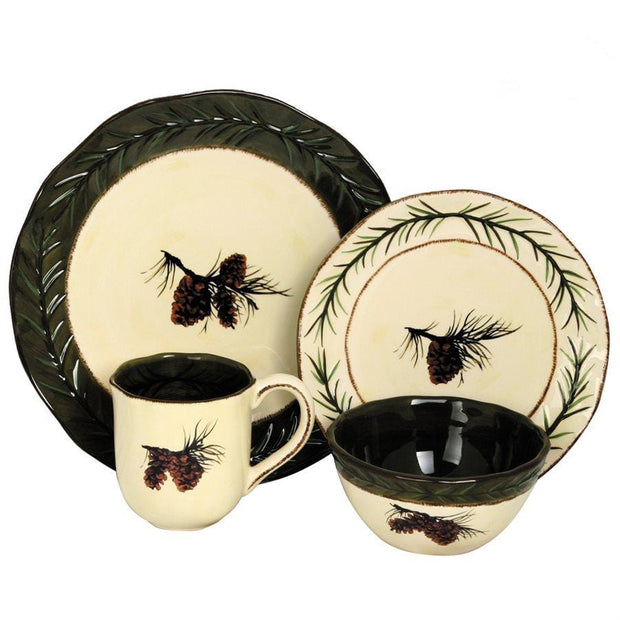 Pine Cone Rustic 16-PC Dinnerware Set